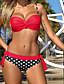 billige Bikinier og damemote 2017-Dame Med stropper Bandeau Bikini - Trykt mønster, Cheeky Polkadotter