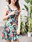 billige Kjoler-Kvinders Simpel I-byen-tøj A-linje Kjole Blomstret,U-hals Over knæet Uden ærmer Grøn Bomuld Sommer