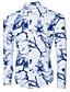 baratos Camisas Masculinas-Homens Camisa Social - Trabalho / Bandagem Moda de Rua Floral / Geométrica Algodão / Manga Longa