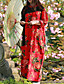 baratos Vestidos Femininos-Feminino balanço Vestido,Casual Temática Asiática Floral Colarinho Chinês Longo Manga Longa Algodão Linho Primavera Outono Cintura Média