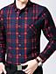 billige Herreskjorter-Bomull / Akryl / Polyester Blå / Rød Medium Langermet,Skjortekrage Skjorte Ruter Vår / Vinter Enkel Fritid/hverdag / Plusstørrelser Herre