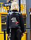 お買い得  レディースブレザー&ジャケット-女性 カジュアル/普段着 / ホリデー 秋 / 冬 刺しゅう ジャケット,シンプル スタンド ブラック ポリエステル 長袖 ミディアム