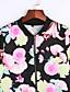 Dames Eenvoudig Vintage Lente Herfst Jack,Uitgaan Casual/Dagelijks Bloemen Opstaand Lange mouw Normaal Polyester