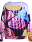 preiswerte Damen Kapuzenpullover & Sweatshirts-Damen Pullover Lässig/Alltäglich 3D-Druck Druck Rundhalsausschnitt Mikro-elastisch Polyester Langarm Herbst Winter