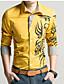 رخيصةأون قمصان رجالي-رجالي قميص قياس كبير نحيل ياقة كلاسيكية - عتيق طباعة هندسي أحمر XXL / كم طويل / الربيع / الخريف