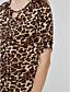 billige Topper til damer-Rayon Brun Tynn Langermet,Rund hals T-skjorte Leopard Alle sesonger Sexy / Enkel Ut på byen / Fritid/hverdag Dame