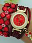 baratos Relógios da Moda-Mulheres Bracele Relógio Quartzo Com Strass Couro Banda Analógico Flor Boêmio Preta / Azul / Vermelho - Marron Vermelho Azul Um ano Ciclo de Vida da Bateria / Tianqiu 377