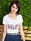 halpa Naisten yläosat-Naiset Lyhythihainen Pyöreä kaula-aukko Puuvilla Yksinkertainen Päivittäin Kausaliteetti T-paita,Painettu