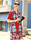 billige Damekjoler-Skjede Kjole Ut på byen Søt Dame,Trykt mønster Skjortekrage Knelang Kortermet Silke Sommer Mellomhøyt liv Mikroelastisk Medium