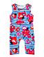 baratos Macacões & Bodies de Bebê-bebê Para Meninas Floral Listras Floral Riscas Estampado Sem Manga Jardineira & Macacão