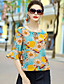 cheap Women's Tops-Women's Going out Cute Blouse,Floral Round Neck Half Sleeves Silk