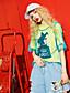 halpa Naisten yläosat-Naiset Lyhythihainen Pyöreä kaula-aukko Puuvilla Viskoosia Yksinkertainen Päivittäin Kausaliteetti T-paita,Yhtenäinen Painettu Lainaukset