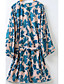 cheap Kimono Tops-Women's Going out Street chic Cotton Trench Coat - Print V Neck / Summer