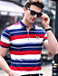 cheap Men's Tees & Tank Tops-Men's Work Casual Plus Size Cotton T-shirt - Solid Colored / Striped Shirt Collar / Short Sleeve