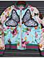 preiswerte Damen Blazers & Anzugjacken-Damen Druck Einfarbig Chinoiserie Lässig/Alltäglich Jacke,V-Ausschnitt Herbst Langärmelige Kurz Polyester