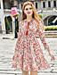 Damen A-Linie Hülle Chiffon Kleid-Ausgehen Lässig/Alltäglich Einfach Niedlich Anspruchsvoll Druck V-Ausschnitt Übers Knie Langarm