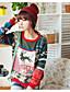 preiswerte Damen Pullover-Damen Lang Pullover-Ausgehen Lässig/Alltäglich Einfach Druck Rundhalsausschnitt Langarm Polyester Herbst Dick Mikro-elastisch