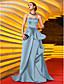 hesapli Balo Elbiseleri-A-Şekilli Kalp Yaka Süpürge / Fırça Kuyruk Saten Aplik / Kurdeleler / Pileler ile Balo / Resmi Akşam / Askeri Balo Elbise tarafından TS Couture® / Ünlü Stili / Eski Tiplerden Esinlenilmiş