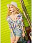 Damen Druck Einfach Ausgehen Bluse,V-Ausschnitt 3/4 Ärmel Polyester