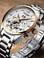 tanie Zegarki mechaniczne-Męskie Nakręcanie automatyczne zegarek mechaniczny Zegarek na nadgarstek Zegarek na bransoletce Wojskowy Szkieletowy Swiss Kalendarz