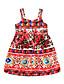 tanie Sukienki dla dziewczynek-Sukienka Bawełna Dziewczyny Kwiaty Boho Czerwony