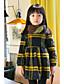 tanie Sukienki dla dziewczynek-Sukienka Bawełna Poliester Dziewczyny Codzienne Urlop Kratka Zima Długi rękaw Prosty Yellow