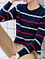 זול סוודרים וקרדיגנים לגברים-פסים דפוס - סוודר שרוול ארוך צווארון עגול רגיל בגדי ריקוד גברים