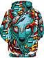 cheap Men's 3D-Men's Plus Size Hoodie Cartoon 3D Print Hooded Daily Basic Exaggerated Hoodies Sweatshirts  Long Sleeve Loose Green / Fall