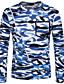お買い得  メンズTシャツ&タンクトップ-男性用 Tシャツ ラウンドネック カモフラージュ ブラウン L / 長袖