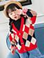 お買い得  女児 セーター&カーディガン-子供 女の子 ストリートファッション カラーブロック 長袖 レギュラー ポリエステル セーター&カーデガン ルビーレッド