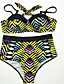 cheap Plus Size Swimwear-Women's Basic Strap Green Underwire Cheeky Bikini Swimwear Swimsuit - Geometric L XL XXL Green / Sexy