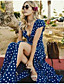 cheap Summer Dresses & Boho-Women's Maxi Swing Dress - Short Sleeve Polka Dot Print Deep V Elegant Boho Casual Holiday Beach White Black Blue Red S M L XL
