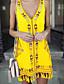 cheap Summer Dresses & Boho-Women's 2020 Yellow Royal Blue Dress Boho Spring & Summer Beach A Line V Neck Tassel Fringe S M Slim