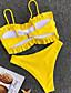 ราคาถูก ชุดบิกินี-สำหรับผู้หญิง ขาว สีเหลือง Cheeky tankini ชุดว่ายน้ำ - สีพื้น S M L ขาว