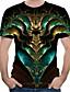 cheap Men's 3D-Men's T shirt Shirt Graphic Abstract Print Tops Round Neck Green