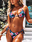 cheap Bikini Sets-Women's Triangle Basic Bikini Swimsuit Floral Swimwear Bathing Suits Light Blue Yellow Navy Blue