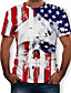 cheap Men's 3D-Men's Tee T shirt Shirt 3D Print Graphic 3D Skull American Flag Independence Day Print Short Sleeve Causal Tops Designer Big and Tall White