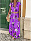 cheap Maxi Dresses-Women's Boho / Beach Maxi Purple Yellow Dress Casual Spring & Summer Holiday Vacation Sheath Floral Print Deep V Print S M Slim / Cotton