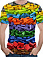 cheap Men's Tops-Men's EU / US Size T-shirt - 3D / Rainbow Print Round Neck Rainbow