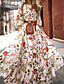 cheap Best Sellers-Women's Floral Long Maxi White Dress With Sleeve 2020 Ruffle Casual Spring Holiday Vacation Swing Flower Lantern Sleeve Flared Print S M