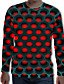 cheap Men's 3D-Men's T shirt Polka Dot Graphic Geometric 3D Plus Size Print Long Sleeve Daily Tops Streetwear Exaggerated Round Neck Purple Red / Fall / Spring