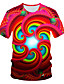 cheap Men's 3D-Men's T shirt Graphic Geometric Print Short Sleeve Daily Wear Tops Personalized Chic & Modern Streetwear Exaggerated Round Neck Red / Club