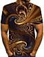cheap Men's 3D-Men's T shirt Shirt Graphic Abstract Print Short Sleeve Street Tops Streetwear Exaggerated Round Neck Brown / Summer / Club