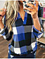 cheap Blouses & Shirts-Women's Plaid Loose Blouse Daily V Neck Blue / Red / Green / Gray