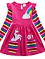 cheap Girls' Dresses-Kids Little Girls' Dress Unicorn Rainbow Flower / Floral Animal T Shirt Dress Tee Dress Cartoon With Pockets Print Blue Yellow Fuchsia Above Knee Long Sleeve Active Casual Dresses Regular Fit 2-8