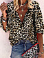 cheap Blouses & Shirts-Women's Leopard Shirt Daily V Neck Yellow