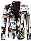 cheap Men's Outerwear-Men's Party / Holiday / Bachelor's Party Regular 3D / Abstract Notch Lapel Full Body Polyester Print White