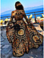 cheap Summer Dresses & Boho-Women's Wrap Dress Maxi long Dress - Long Sleeve Print Belted Spring & Summer Deep V Boho Holiday Going out Beach 2020 Yellow S M L XL XXL XXXL
