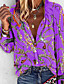 cheap Blouses & Shirts-Women's Daily Plus Size Loose Shirt - Geometric V Neck Purple