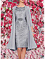 cheap Elegant Dresses-Women's Two Piece Dress - 3/4 Length Sleeve Paisley Solid Colored Lace Formal Style Wrap Spring Fall Elegant Cocktail Party Prom Birthday Slim 2020 Wine Blue Gray M L XL XXL XXXL